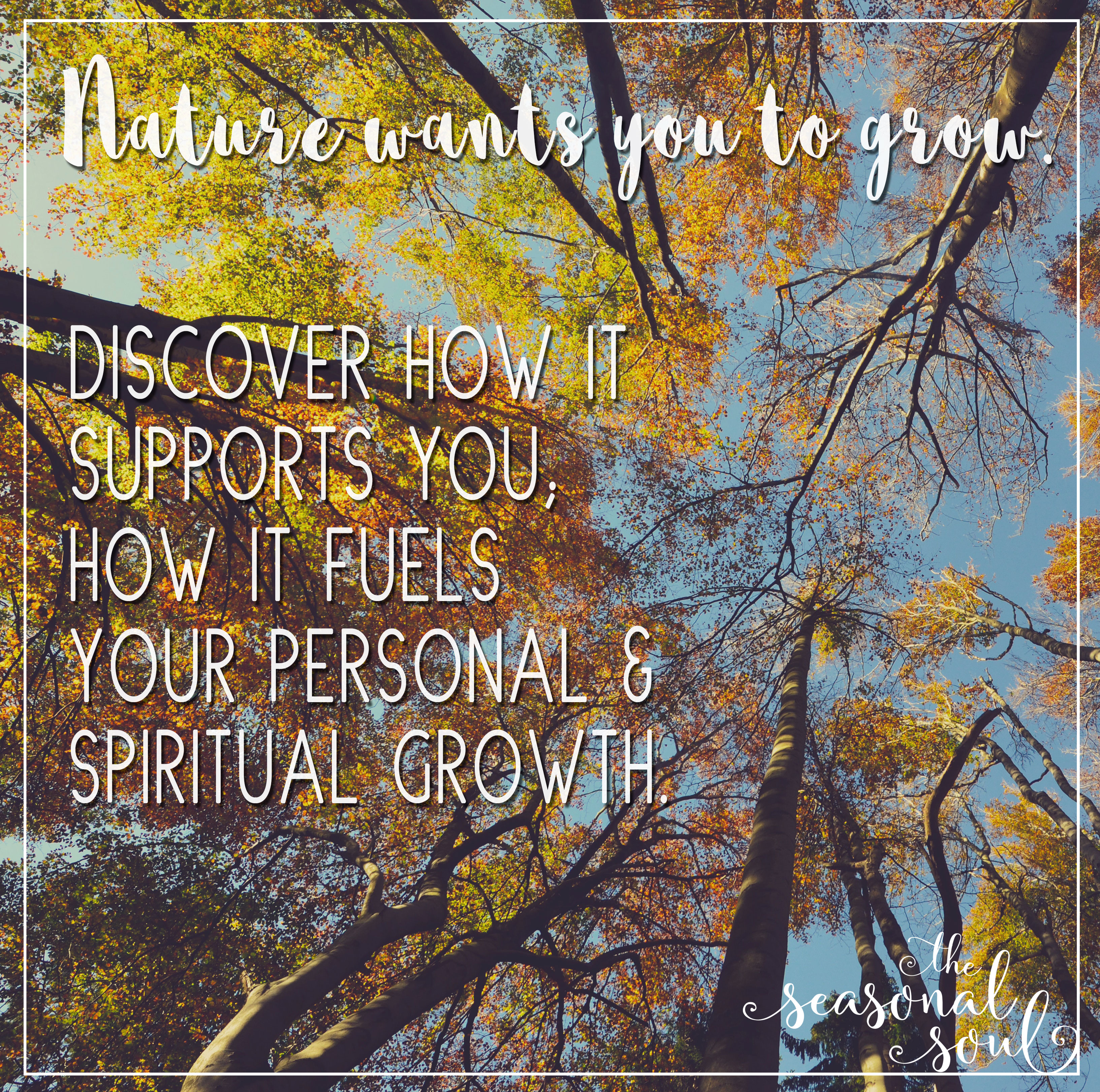 Nature wants you to grow. Discover how it supports you, how it fuels your personal & spiritual growth.
